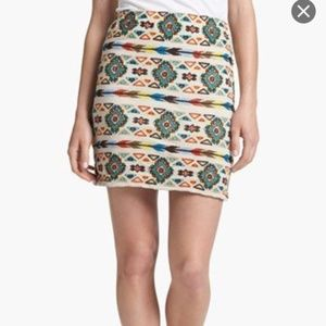 ANTHROPOLOGIE WILLOW & CLAY AZTEC PRINT MINI SKIRT